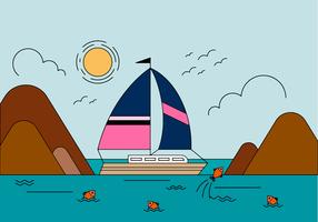 Vettore di paesaggio barca gratis