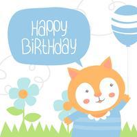 Buon compleanno animale gatto vettore