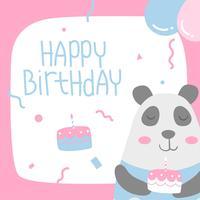 Buon compleanno animale Panda Cartoon saluto vettore