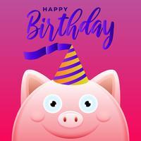 Cartolina d'auguri di buon compleanno con l'illustrazione sveglia di vettore del maiale