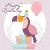 Scheda di buon compleanno di vettore Toucan