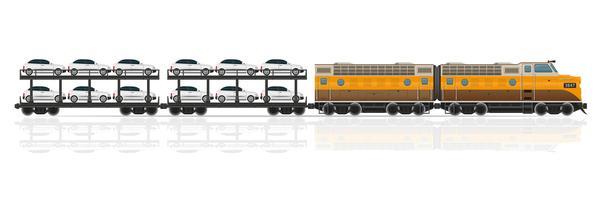 il treno ferroviario con la locomotiva ed i vagoni vector l'illustrazione