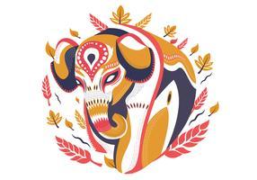 Illustrazione decorativa di vettore dell'elefante dipinto estratto