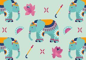 Illustrazione di vettore del modello di elefante dipinto carino