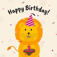 Saluti di compleanno con l'illustrazione di vettore degli animali