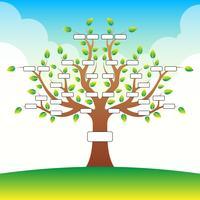 Modello dell'albero genealogico con il posto per testo sul fondo della nuvola vettore