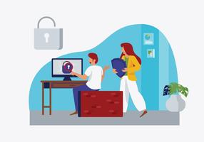 Utente che controlla l'illustrazione piana di vettore di sicurezza cyber online