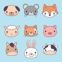 Set di facce di animali carini vettore