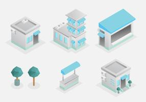 Set casa isometrica vettore