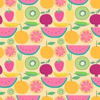 Modello senza cuciture con sfondo di frutta. Illustrazioni vettoriali per la confezione regalo.