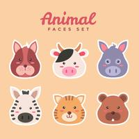 Faces Animal Set Vector