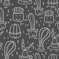 Fondo senza cuciture sveglio del modello del cactus. Illustrazioni vettoriali per la confezione regalo.