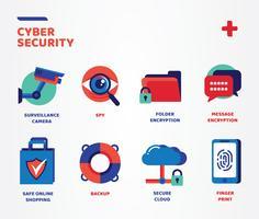 Pacchetto di icone di sicurezza informatica di Cyber vettore