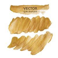Colpo di pennello dorato vettoriale, macchia di vernice trama oro, illustrazione vettoriale. vettore