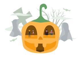 Scena minima per il giorno di Halloween, il 31 ottobre, con mostri che includono dracula, uomo delle zucche, frankenstein, gatto. Illustrazione vettoriale isolato su sfondo bianco.