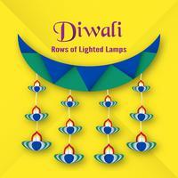 Biglietto d'invito per il festival Diwali indù. Disegno di illustrazione vettoriale in stile taglio carta.