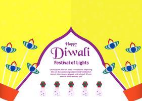 Sfondo di invito per Diwali, festival delle luci indù. Illustrazione vettoriale design in carta tagliata e stile artigianale.