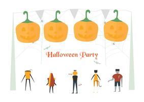 Scena spaventosa minimale per il giorno di Halloween, il 31 ottobre, con mostri che includono donna gatto, bicchiere, uomo zucca, frankenstein, ombrello. Illustrazione vettoriale isolato su sfondo bianco.