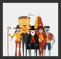 Scena minimale per il giorno di Halloween, il 31 ottobre, con mostri che includono dracula, bicchiere, uomo di zucca, frankenstein, ombrello, burlone, strega. Illustrazione vettoriale isolato su sfondo bianco.