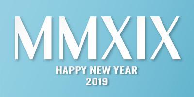 Felice anno nuovo 2019 con su sfondo blu. Illustrazione vettoriale con progettazione di calligrafia di numeri romani in carta tagliata e stile digitale del mestiere.