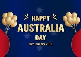 Happy Australia Day il 26 gennaio. Modello di progettazione per poster, carta di invito, banner, pubblicità, flyer. Illustrazione vettoriale in carta tagliata e stile artigianale.