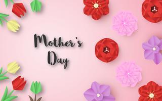 Disegno del modello per la felice festa della mamma. Illustrazione vettoriale in carta tagliata e stile artigianale. Sfondo di decorazione con fiori per invito, copertina, banner, pubblicità.