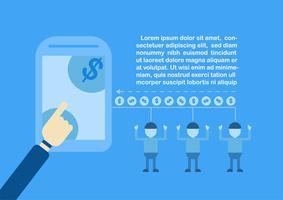 Ottenere denaro tramite internet banking con l'e-commerce e il metodo di pagamento. Illustrazione vettoriale isolato su sfondo blu.