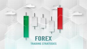 Concetto di strategia di trading Forex in carta tagliata e mestiere per affari, commerciante, investimenti, marketing. Illustrazione vettoriale su tecnologia astratta bacgkround in bianco e grigio.