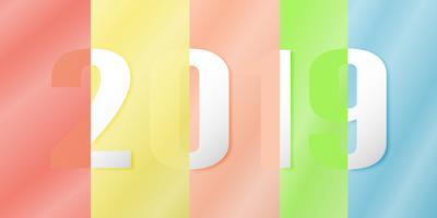Felice anno nuovo 2019 nel concetto di design materiale su sfondo colorato. Illustrazione vettoriale in carta tagliata e mestiere digitale con la riflessione dello specchio.
