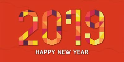 Felice anno nuovo 2019 con shodow di nuvola su sfondo rosso. Illustrazione vettoriale con numero colorato in carta tagliata e artigianato digitale.