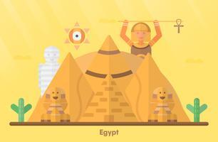 Punti di riferimento dell'Egitto per viaggiare con la Grande Sfinge di Giza, la Grande Piramide di Giza, la montagna, il cactus, la mummia e la ragazza del faraone. Illustrazione vettoriale con copia spazio e bagliori di luce.