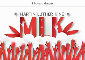 Thailandia, Udonthani - 16 gennaio 2019: Happy Martin Luther King Jr. Day con taglio carta e stile artigianale. Illustrazione vettoriale per sfondo, banner, poster, pubblicità, carta di invito e modello.