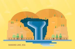 Punti di riferimento dello Stato del Colorado negli Stati Uniti per viaggiare con Hanging Lake, cascate e alberi. Illustrazione vettoriale con copia spazio e bagliori di luce su sfondo giallo e arancio.
