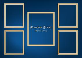 Insieme dell'immagine decorativa della struttura con il confine dell'oro, progettazione di vettore su fondo blu con lo spazio della copia nel concetto premio.