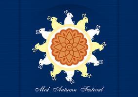 Mid Autumn Festival per i cinesi in design piatto. Illustrazione vettoriale su sfondo blu con Luna, coniglio, mooncakes.