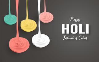 Happy Holi, Festival dei colori. Modello elemento di design per modello, banner, poster, cartolina d'auguri. Illustrazione vettoriale in carta tagliata, artigianato, tipo di origami con lo stile piatto laici.