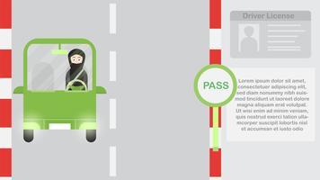 La donna guida un'auto verde in Arabia Saudita di notte. Illustrazione vettoriale con città urbana, luna e stelle.