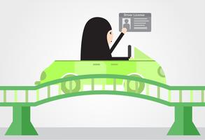 La donna guida un'auto verde in Arabia Saudita sul ponte. L'adulto arabo ottiene una patente di guida. Disegno di illustrazione vettoriale in stile piano.