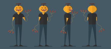 Disegno di carattere dell'uomo della zucca per il giorno di Halloween, il 31 ottobre, illustrazione di vettore isolata su priorità bassa blu scuro.