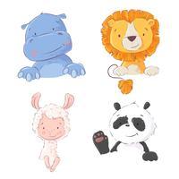 Set di simpatici animali tropicali ippopotamo, leone, lama e panda, illustrazione vettoriale in stile cartone animato