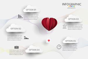 Modello di business design 5 opzioni o passaggi elemento grafico infografica