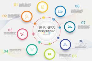 Modello di business design 8 opzioni o passaggi elemento grafico infografica