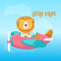Illustrazione di un biglietto di auguri o una principessa per la stanza di un bambino - un leone carino su un aereo di pilota, illustrazione vettoriale in stile cartone animato.