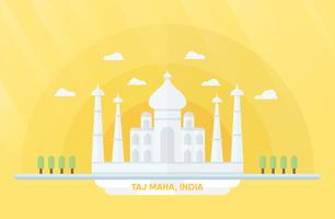 Punti di riferimento dell'India per viaggiare con Taj Mahal e alberi. Illustrazione vettoriale con copia spazio e bagliori di luce su sfondo giallo e arancio.