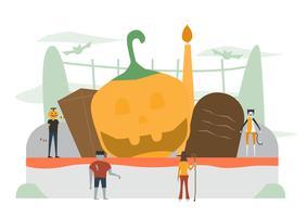 Scena minima per il giorno di Halloween, il 31 ottobre, con mostri che includono uomo zucca, frankenstein, gatto, strega. Illustrazione vettoriale isolato su sfondo bianco.