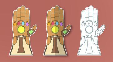 Guanto di Thanos con 6 gemme. Illustrazione vettoriale in stile adesivo carta tagliata. Art craft per bambini.