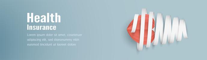 Illustrazione vettoriale nel concetto di assicurazione sanitaria. La progettazione del modello è su sfondo blu pastello in stile taglio carta 3D.