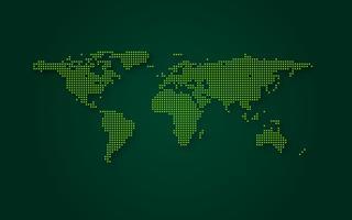 Fondo futuristico di tecnologia dell'estratto della mappa di mondo verde. Trasformazione digitale e concetto di big data. Business quantum concetto di comunicazione di rete internet. Illustrazione vettoriale