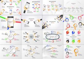 Insieme dell'elemento di infographics con la mano che tiene il cerchio colorato scatola e telefono cellulare. Grafici per la presentazione aziendale con copia spazio su sfondo grigio vettore