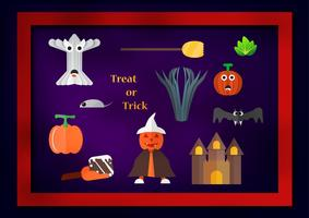 Elemento per il giorno di Halloween con zucca uomo indossa cappello bianco, spazzare, frutta zucca, verdura, castello, pipistrello e albero su sfondo scuro viola.